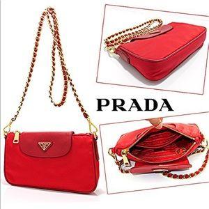 Prada Tessuto Saffiano Nylon Leather Chain Handbag